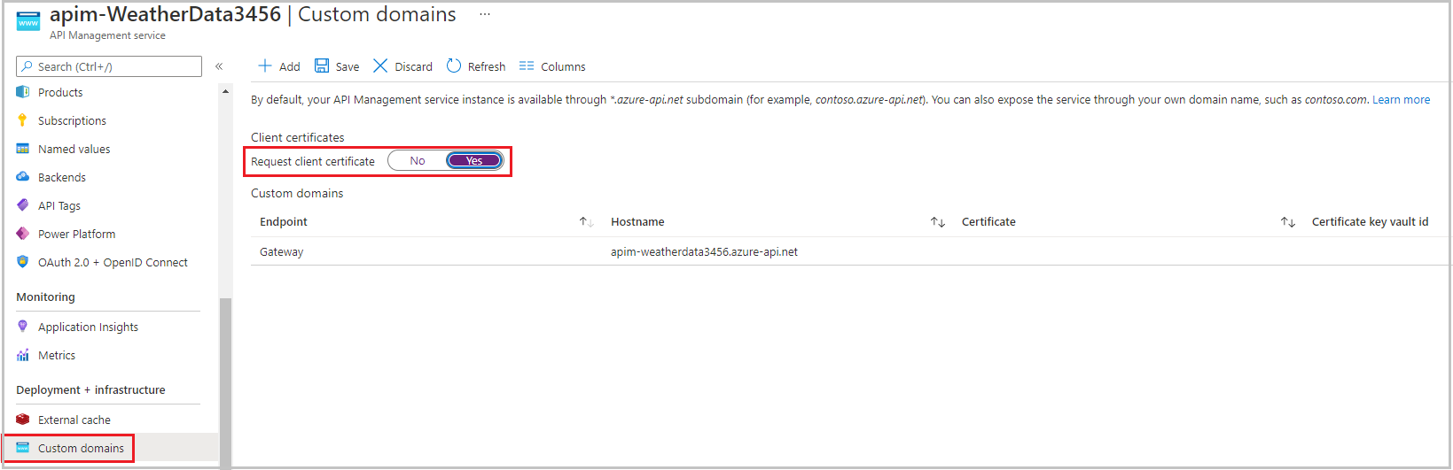 Configure the gateway to request certificates