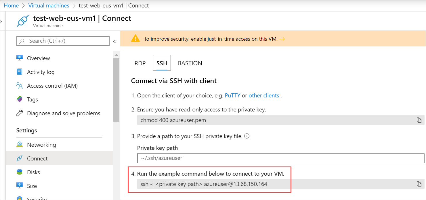Screenshot of the Azure portal showing the Connect to a virtual machine panel configured to connect via SSH to the newly created Linux VM.
