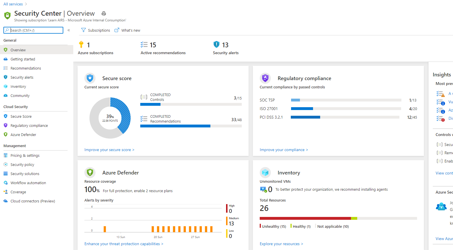 Screenshot showing the Azure Security Center view in the Azure portal