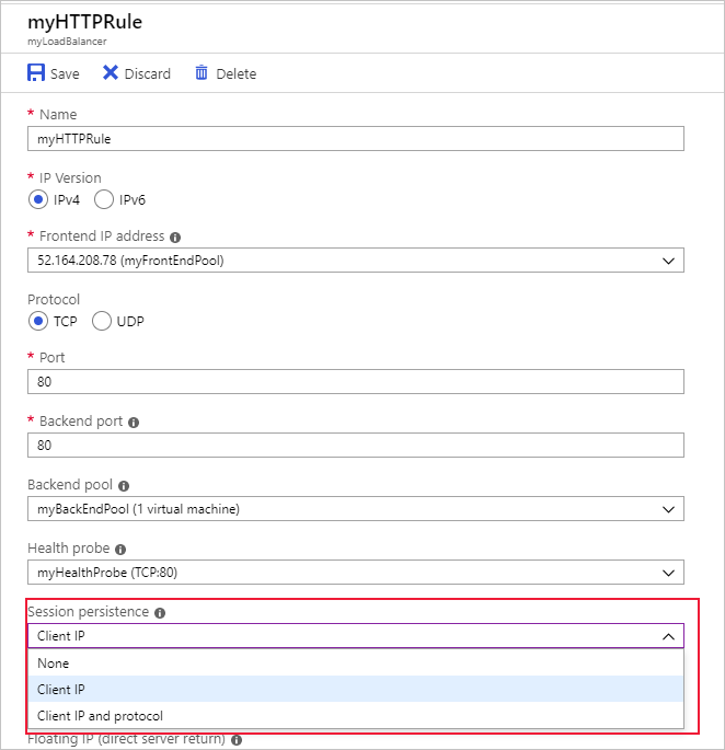Screenshot that shows how to set IP affinity in the Azure portal