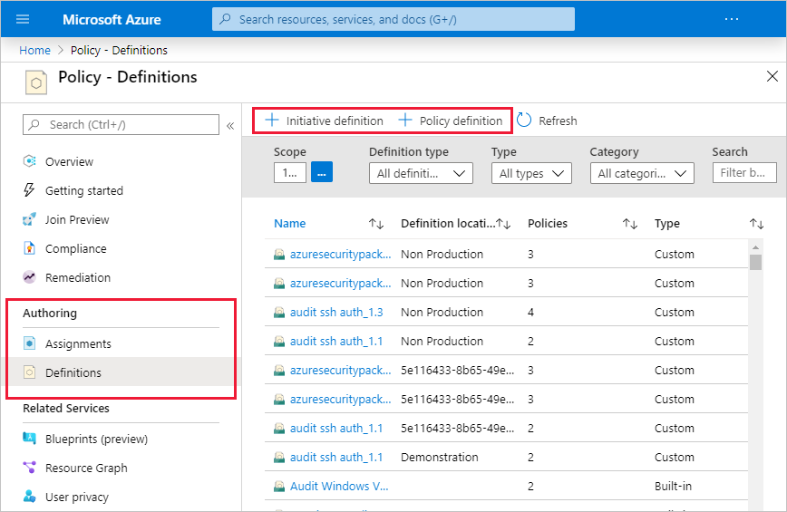 Screenshot showing Azure portal defining initiatives and definitions