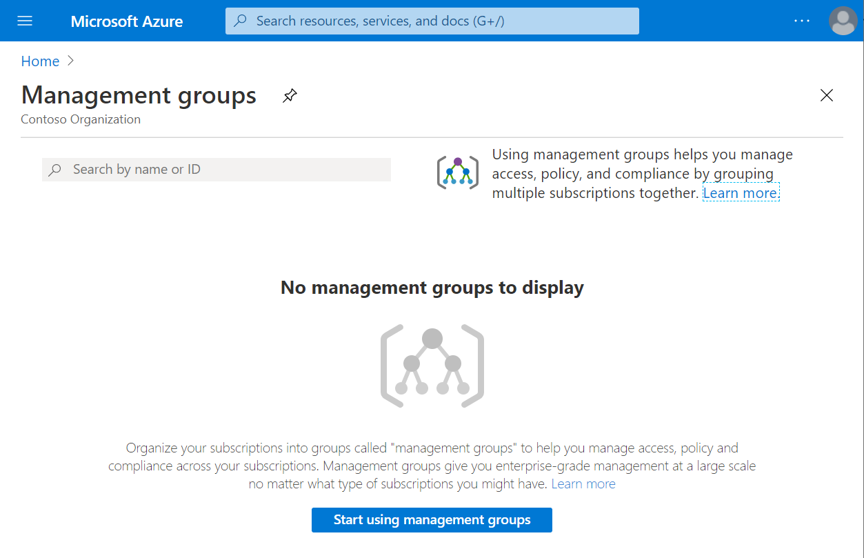 Screenshot of the management groups page in the Azure portal where there aren't any management groups yet. The button Start using management groups is enabled.