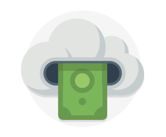 Paper bill and a cloud representing cost effectiveness
