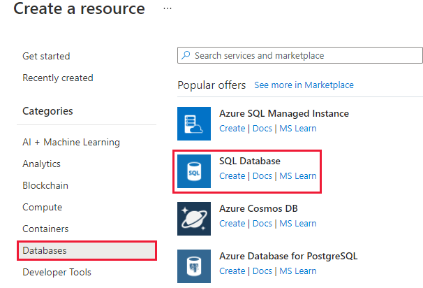 Screenshot of the Azure portal showing the Create a resource pane with the Databases section selected and the Create a resource, Databases, and SQL Database buttons highlighted.