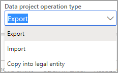Screenshot of the Data project operations type drop down list.