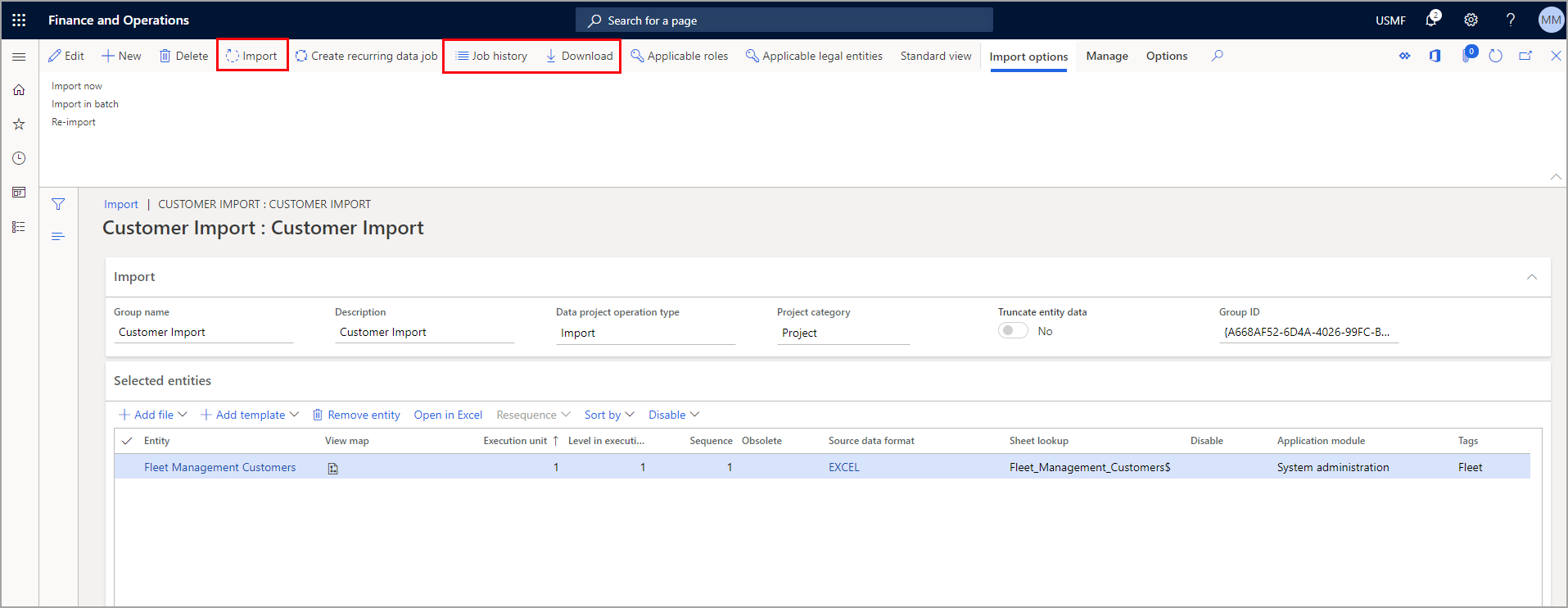 Screenshot with the Import, Job history and Download buttons highlighted.