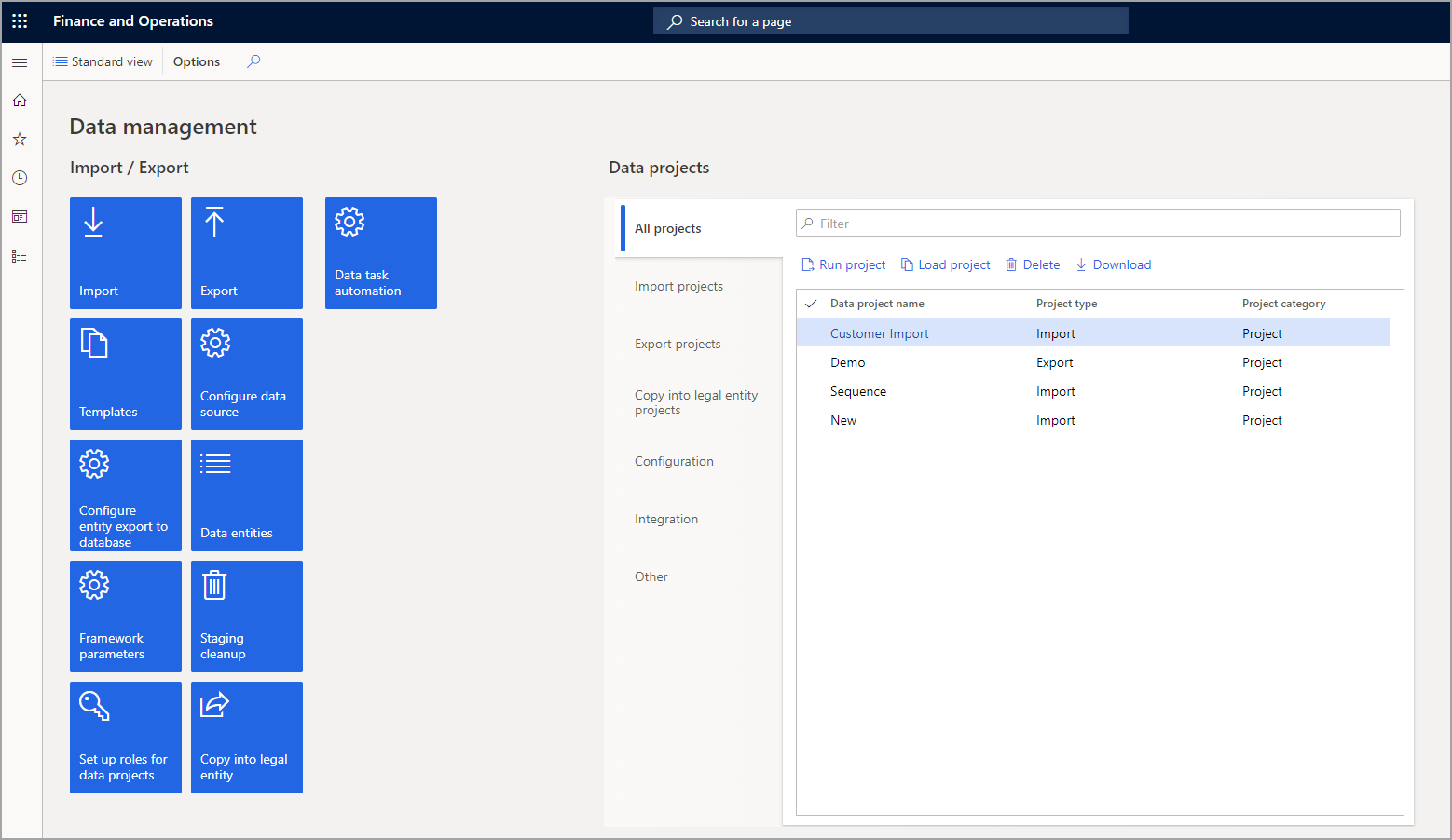 Screenshot of the Data management tiles in the Enhanced view.