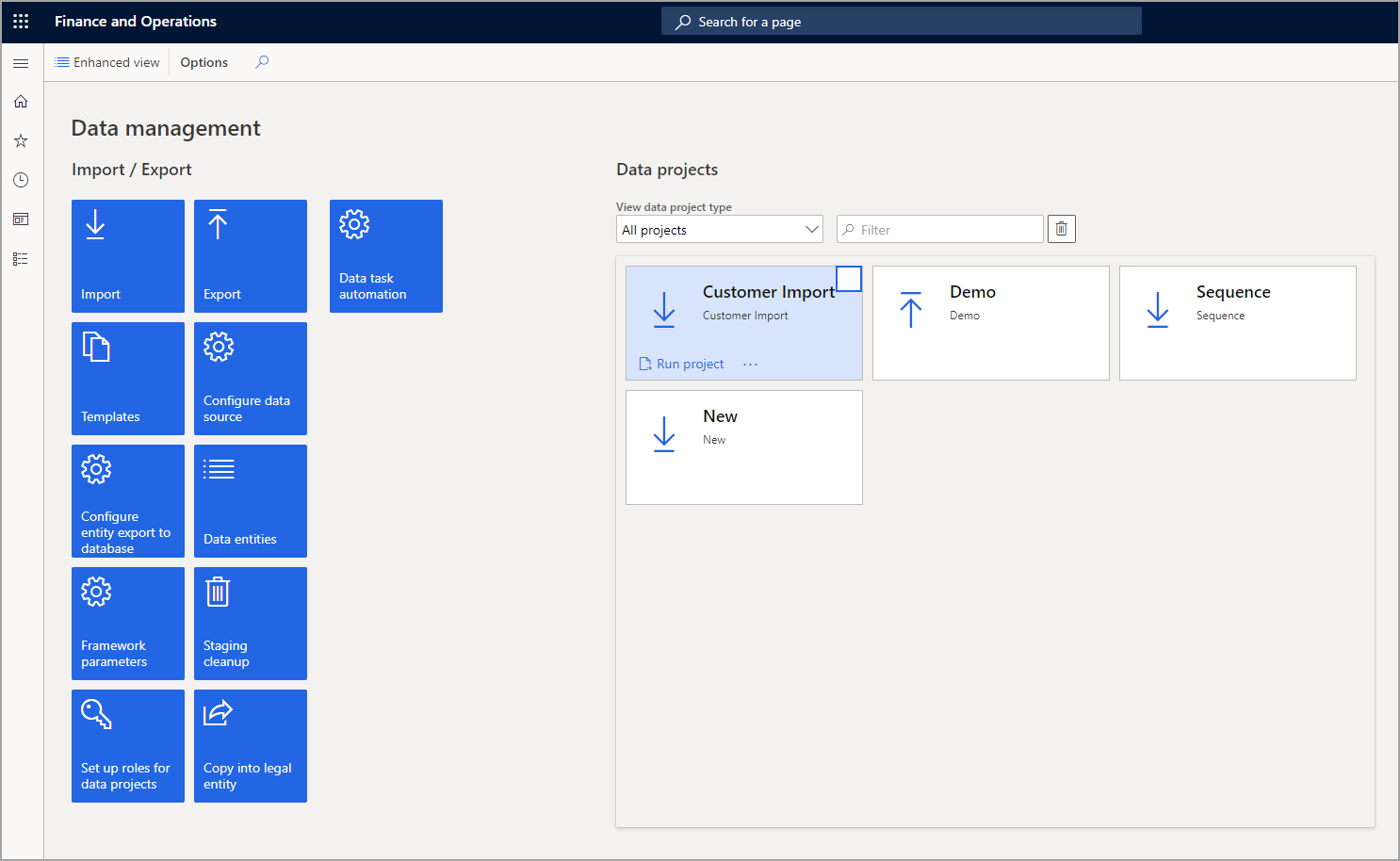 Screenshot of the Data management tiles in the Standard view.
