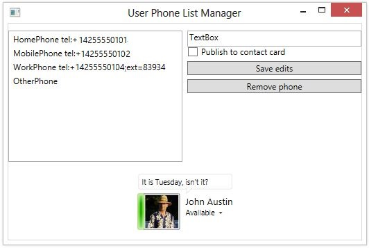 how to update and publish user telephone numbers in lync sdk