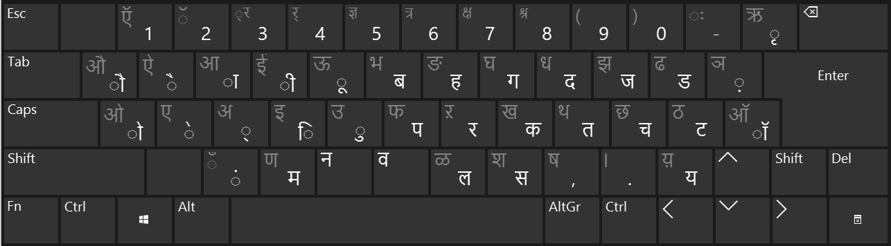Hindi Traditional Keyboard