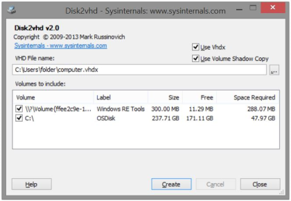 Full Disk2vhd screenshot