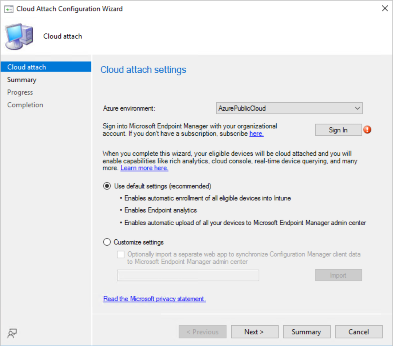 Cloud Attach Configuration - Configuration Manager Technical Preview 2110 New Features