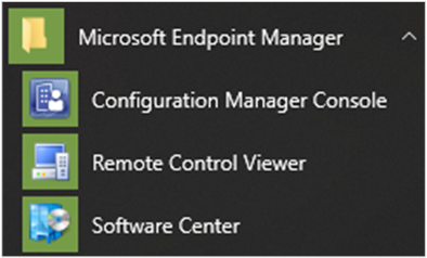 Microsoft Endpoint Manager Start menu icons
