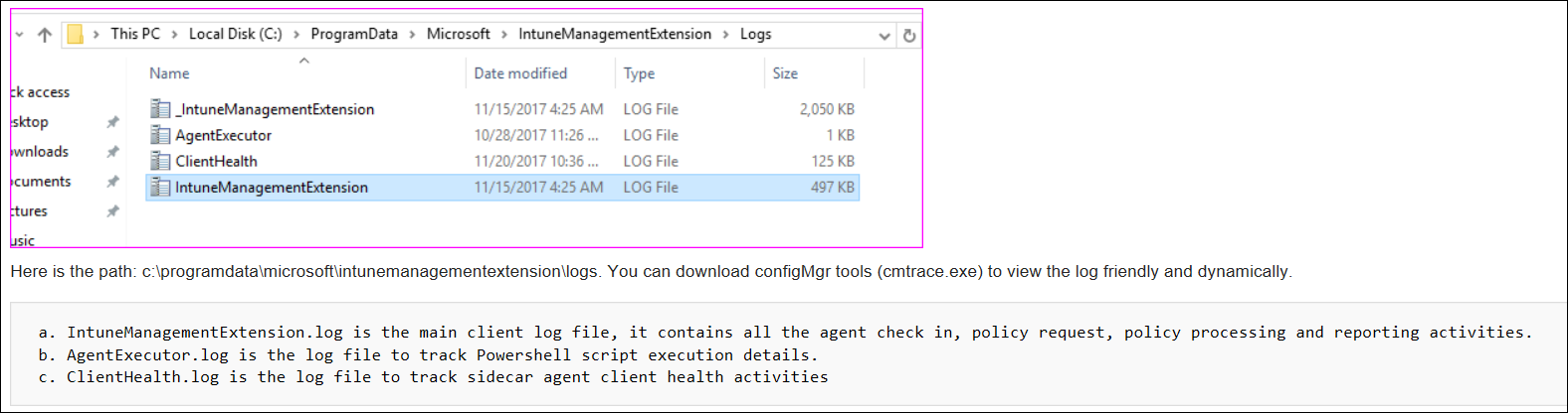 Screenshot or sample cmtrace agent logs in Microsoft Intune