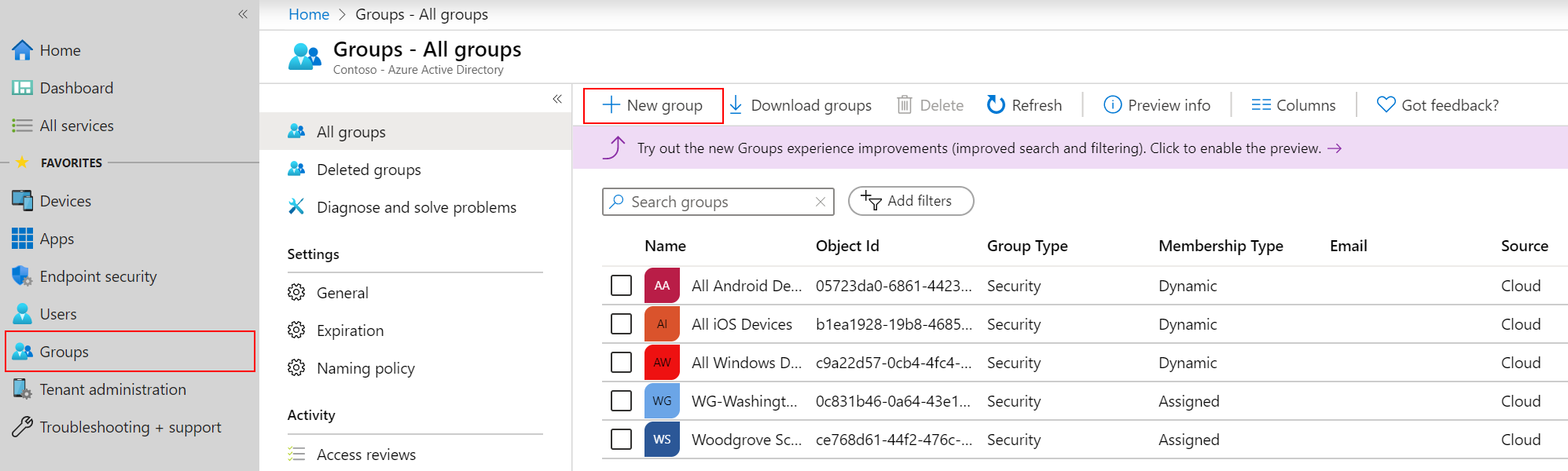 Screenshot of the Azure portal with New Group selected