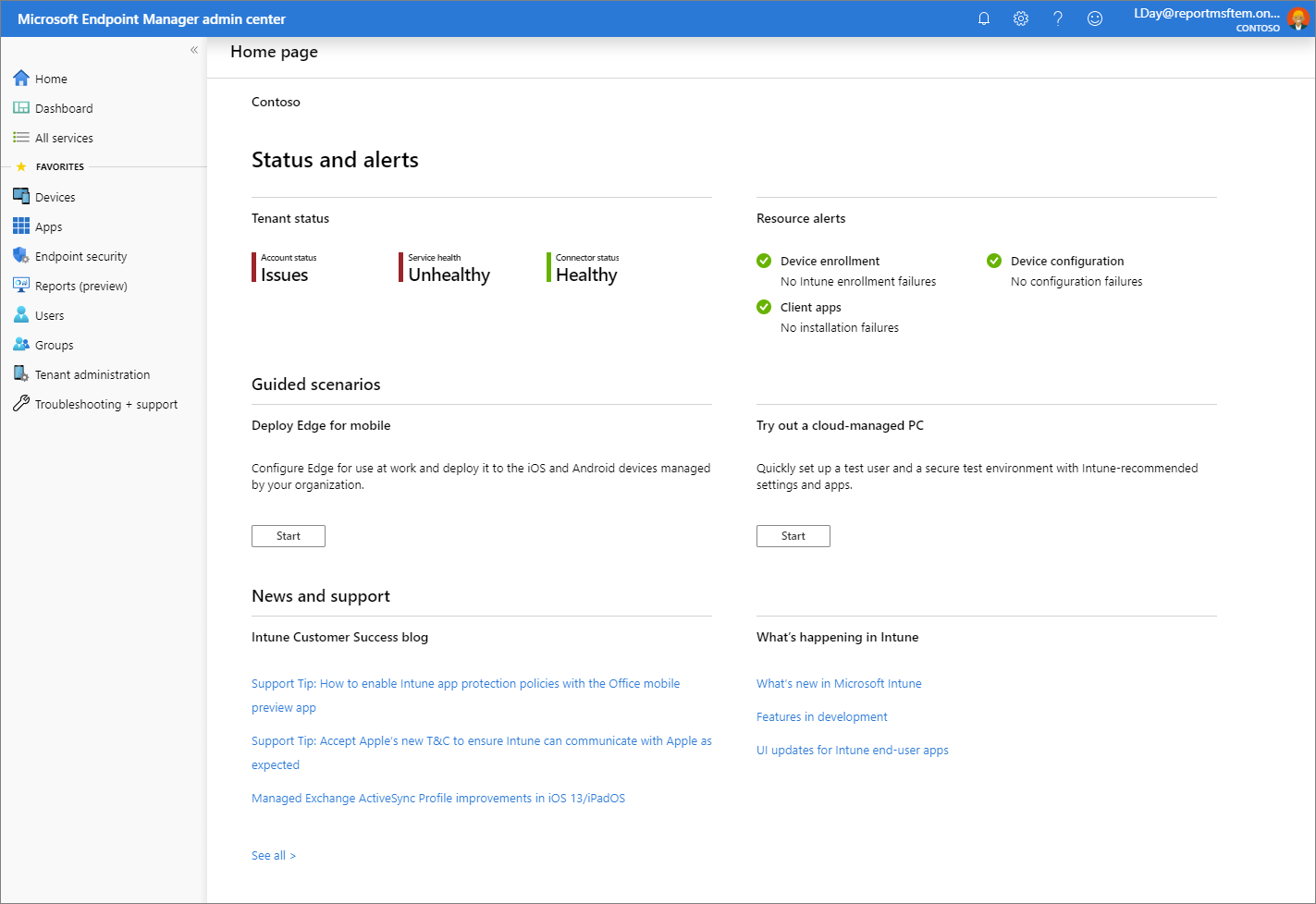 Screenshot of the Microsoft Endpoint Manager admin center - Home page