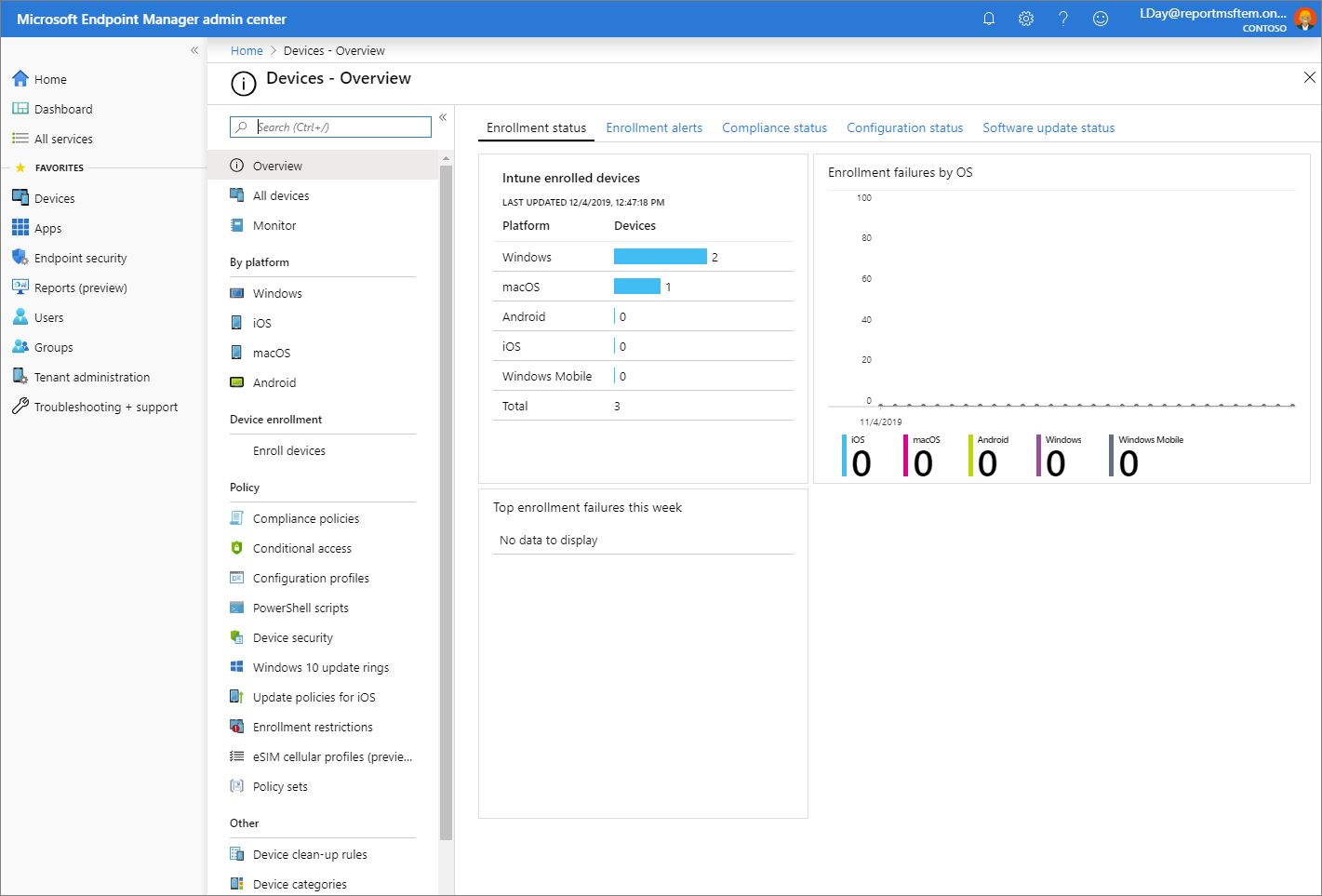 Screenshot of the Microsoft Endpoint Manager admin center - Devices