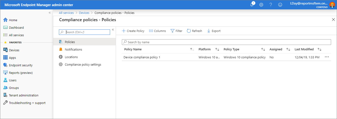 Screenshot of the Microsoft Endpoint Manager admin center - Compliance policies