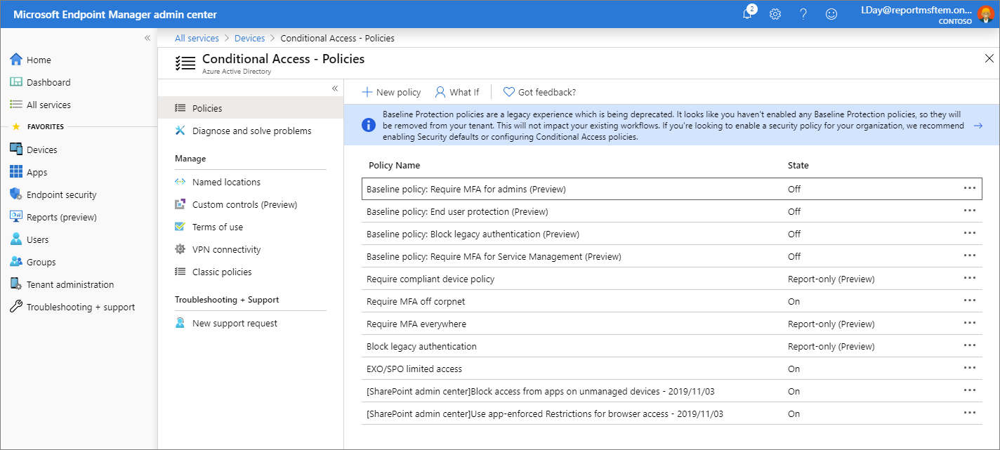 Screenshot of the Microsoft Endpoint Manager admin center - Conditional access