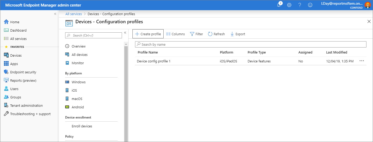 Screenshot of the Microsoft Endpoint Manager admin center - Configuration profiles