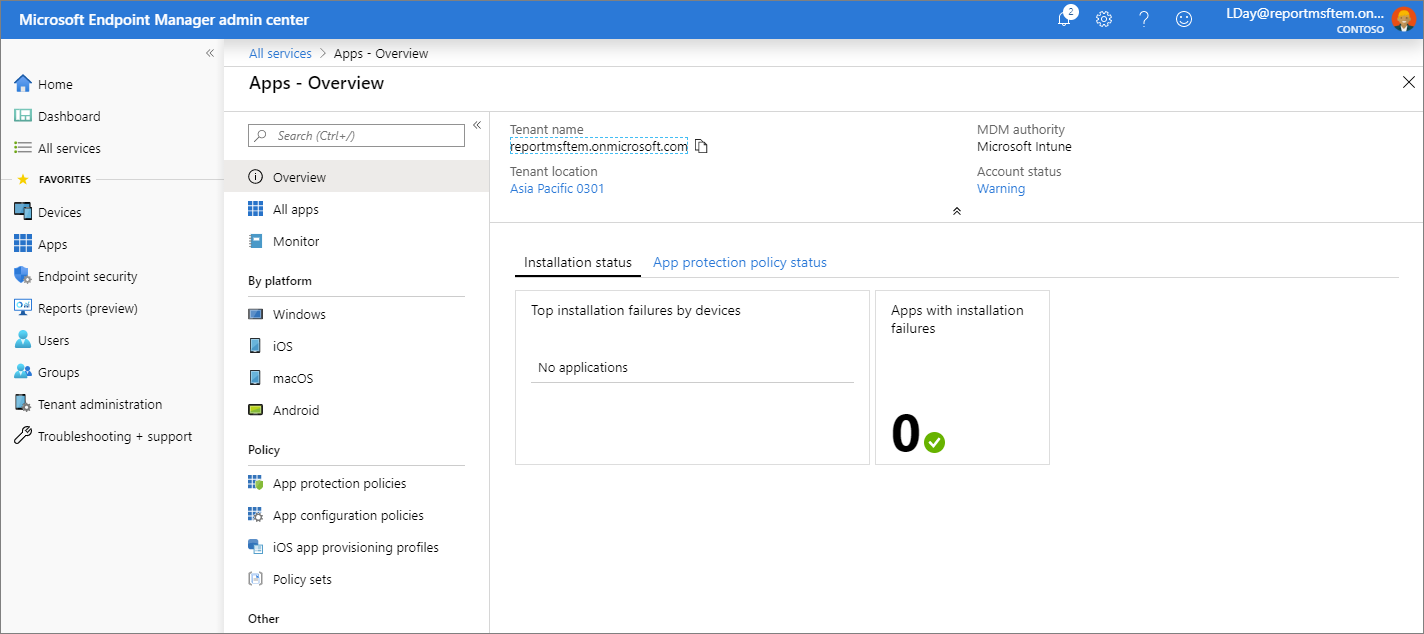 Screenshot of the Microsoft Endpoint Manager admin center - Apps