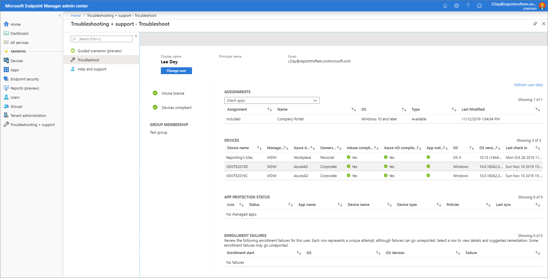 Screenshot of the Microsoft Endpoint Manager admin center - Troubleshoot