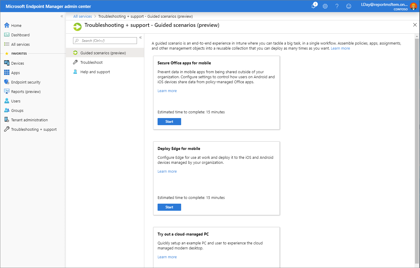 Screenshot of the Microsoft Endpoint Manager admin center - Guided scenarios
