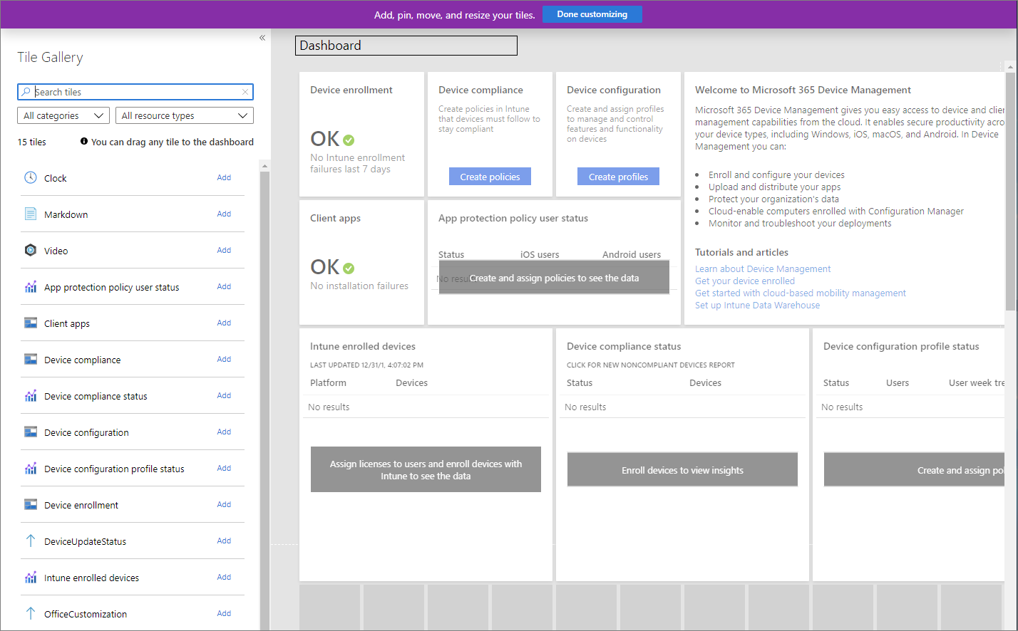Screenshot of the Microsoft Endpoint Manager admin center - Dashboard