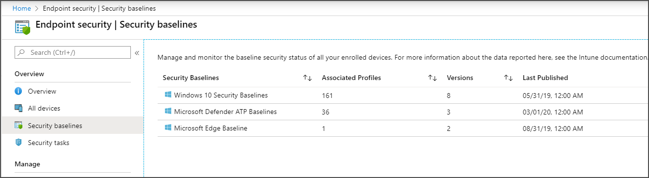 Select a security baseline to configure