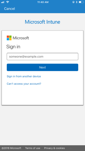 "The Company Portal sign-in page prompts user for email address.  Shows the ""Next"" button and a link to ""Sign in from another device."" Also includes a link to ""Can't access your account?"" A link at the bottom leads to Microsoft Privacy and Cookies information."