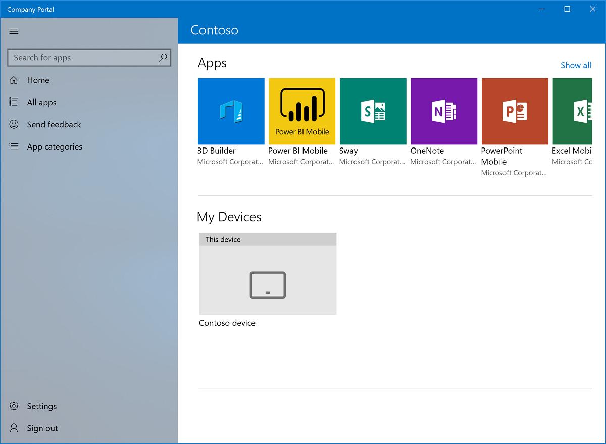 Example of Microsoft Intune Company Portal