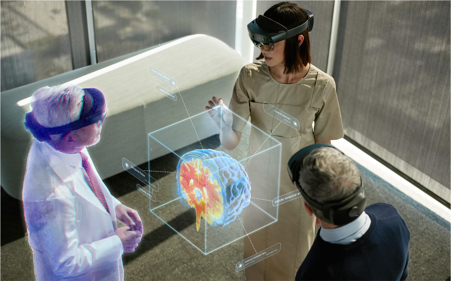 An image of people using HoloLens to collaborate.