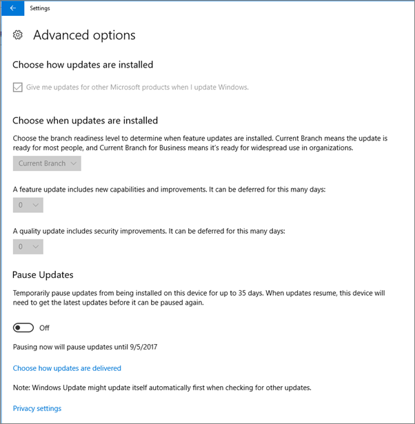 windows 10 defender settings grayed out