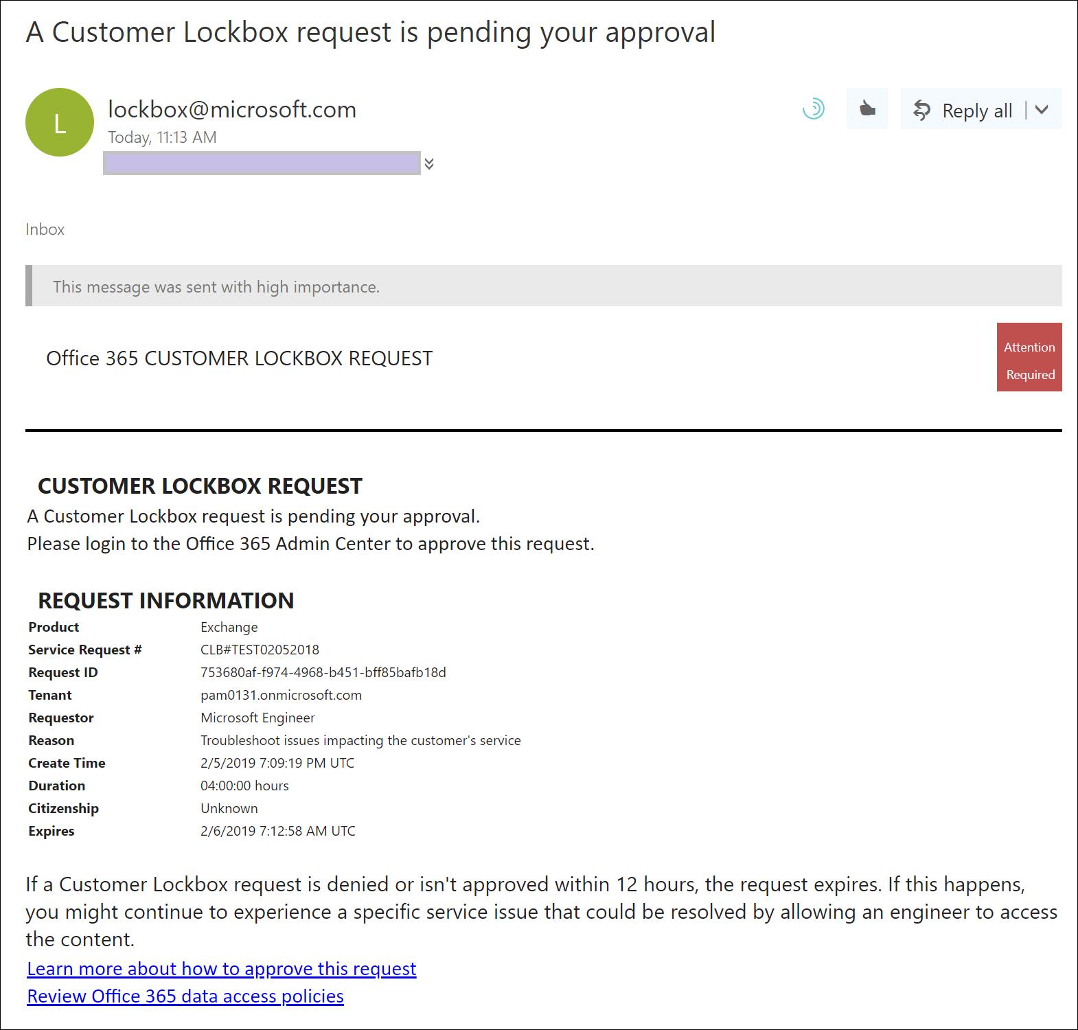 Office 365 Customer Lockbox Requests | Microsoft Docs