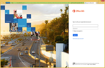 example of the office 365 sign in page before customization