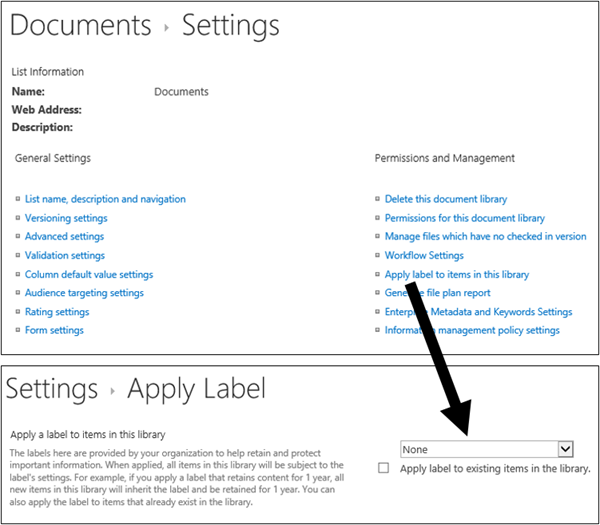 Apply label option on library Settings page