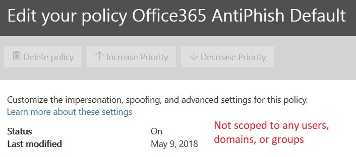 Anti-phishing default policy details