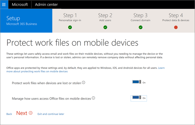 Screenshot of protect work files on your mobile devices page