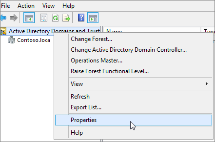 Right-click Active Directory Domains and Trusts and choose Properties