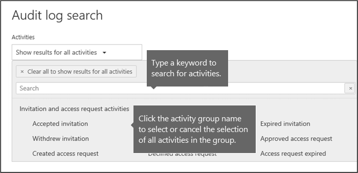 Click activity group name to select all activities