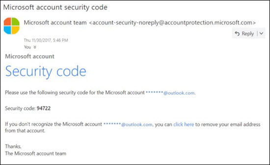 Microsoft legitimate password reset