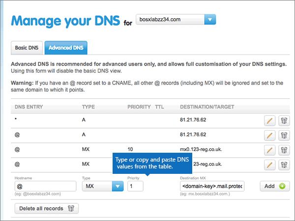 Create DNS records at 123-reg.co.uk for Microsoft - Microsoft 365 ...