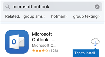 Tap the cloud icon to install Outlook