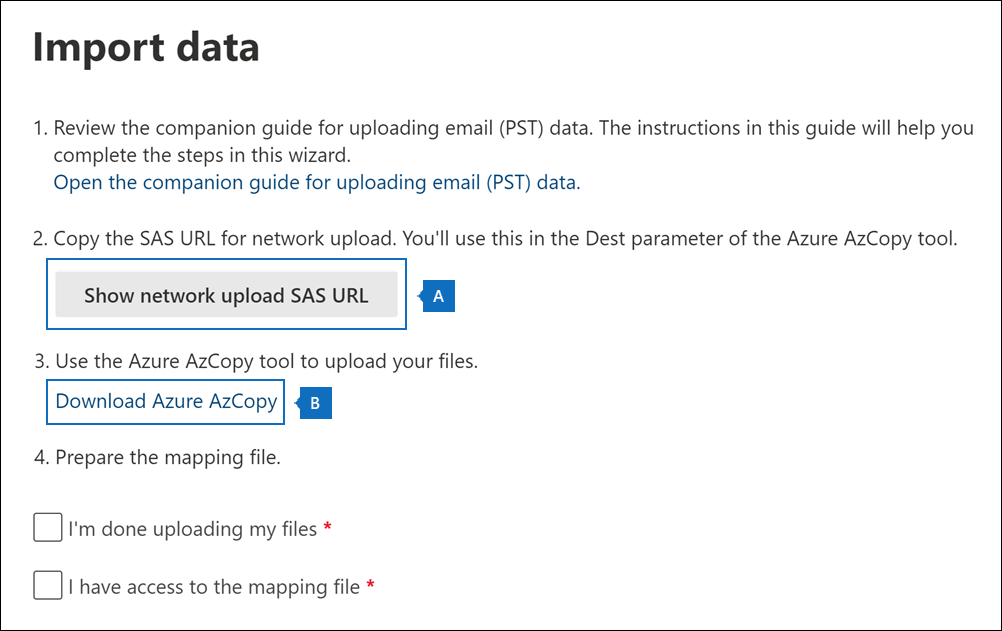 Copy the SAS URL and download the AzCopy tool on the Import data page