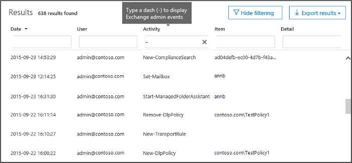 Type a dash in the Activities box to filter Exchange admin events