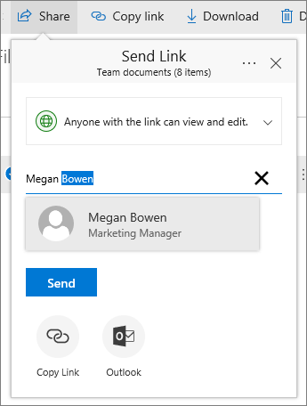 Share a link dialog box showing showing typing and selecting a name.