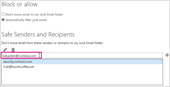 Adding a safe sender in Outlook on the web