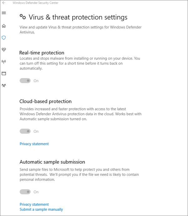 The Virus and threat protection settings are greyed out.