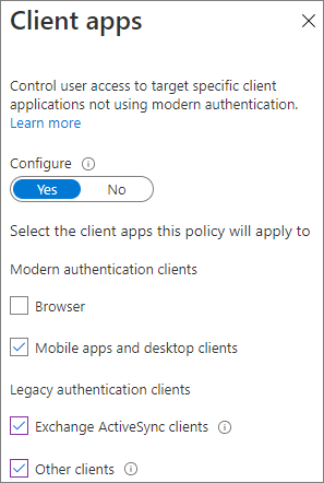 Screenshot of Azure AD conditional access client apps settings