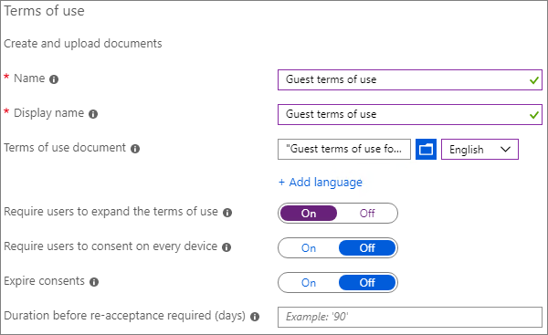 Screenshot of Azure AD new terms of use settings